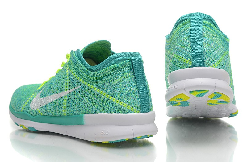 2015 New Release Nike Free Flyknit 5.0 Knit Vamp Mens Running Shoes Green Yellow