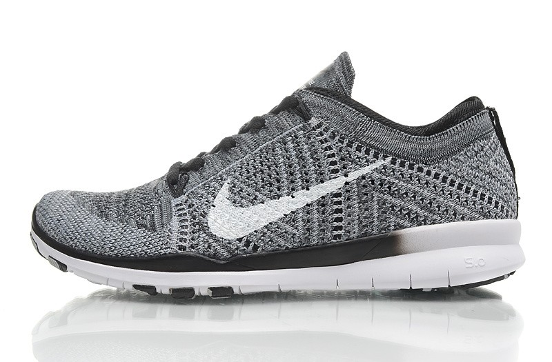 2015 New Release Nike Free Flyknit 5.0 Knit Vamp Mens Running Shoes Grey Black