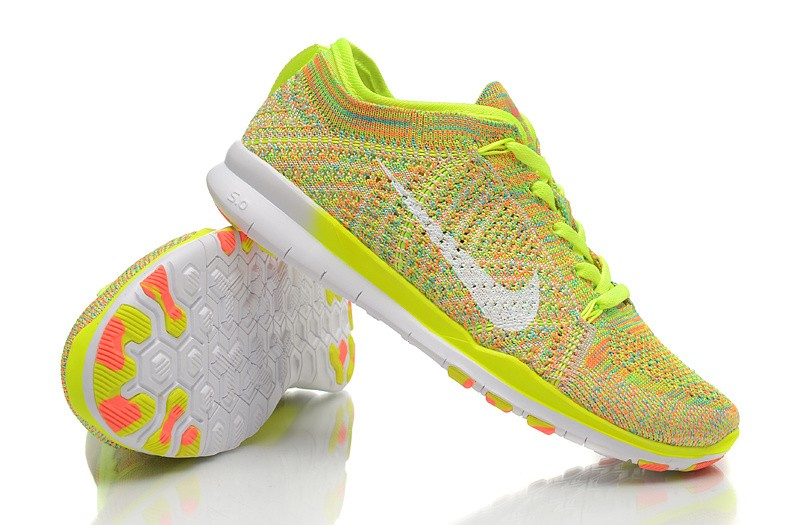 2015 New Release Nike Free Flyknit 5.0 Knit Vamp Mens Running Shoes Orange Yellow