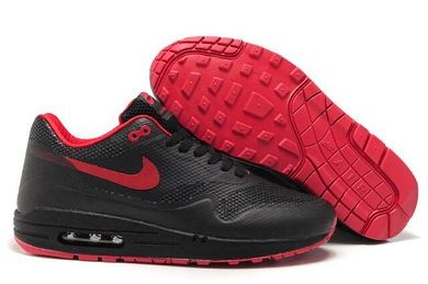 Mens Nike Air Max 1 Hyperfuse Premium Shoes Black Sport Red