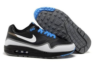 Mens Nike Air Max 1 Hyperfuse Premium Shoes Black White Royal