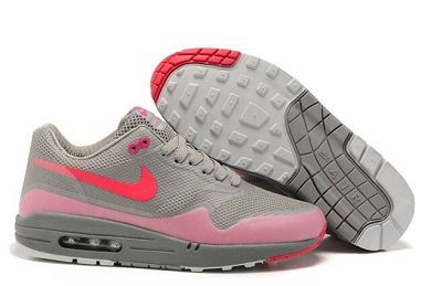 Mens Nike Air Max 1 Hyperfuse Premium Shoes Medium Grey Solar Red Neutral Grey