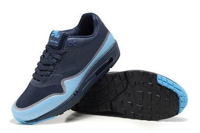 Mens Nike Air Max 1 Hyperfuse Premium Shoes Midnight Fog Blue Glow Medium Grey