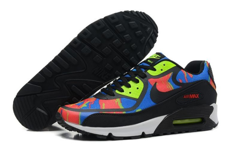 Mens Nike Air Max 90 Premium Tape Runinng Shoes Blue Hero Team Red Volt Black