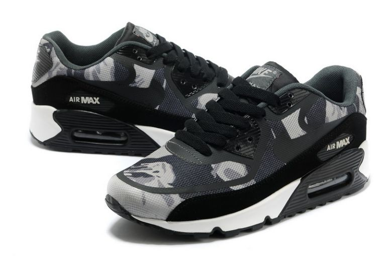 Mens Nike Air Max 90 Premium Tape Runinng Shoes Camo Black Dark Grey Wolf Grey