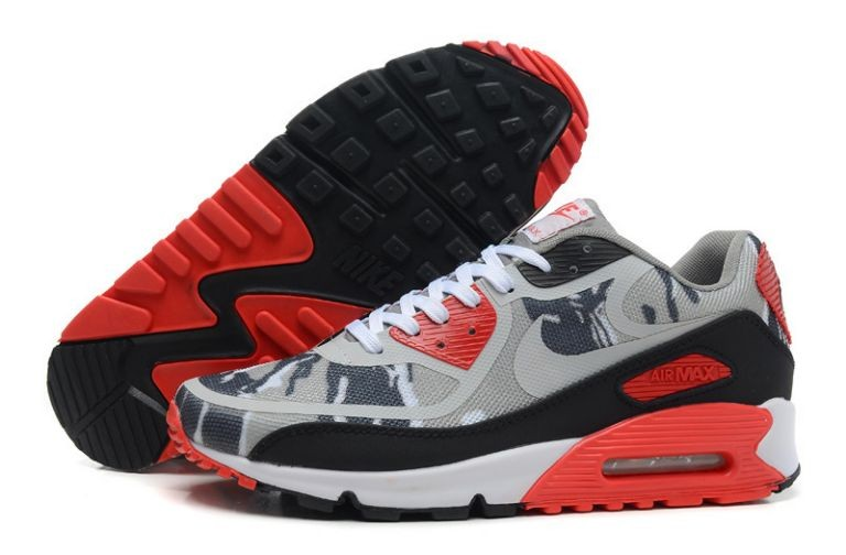 Mens Nike Air Max 90 Premium Tape Runinng Shoes Camo Grey Black Red