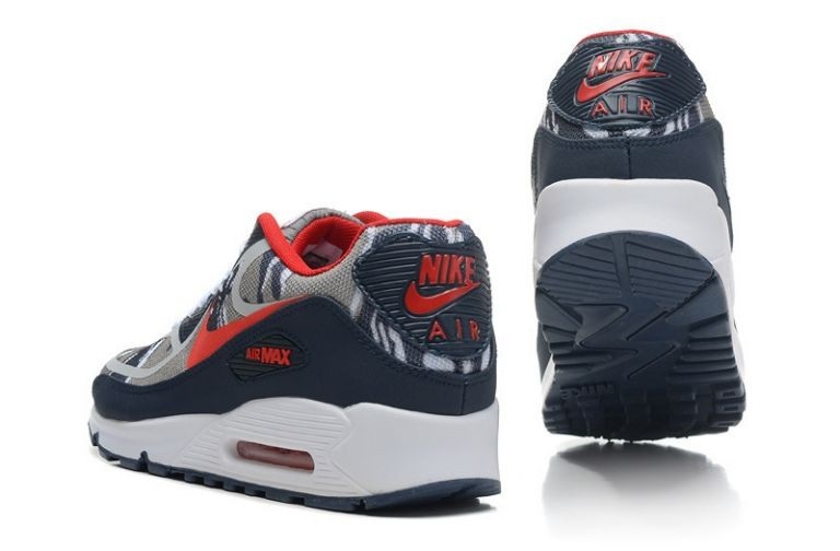 Mens Nike Air Max 90 Premium Tape Runinng Shoes Camo Grey Navy Red