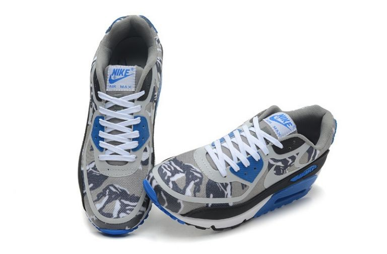 Mens Nike Air Max 90 Premium Tape Runinng Shoes Grey Black Lazer Blue