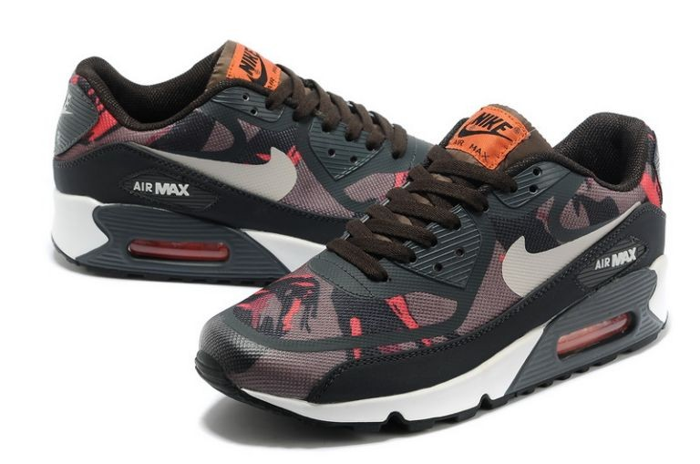 Mens Nike Air Max 90 Premium Tape Runinng Shoes Pewter Brown Atomic Red Anthracite
