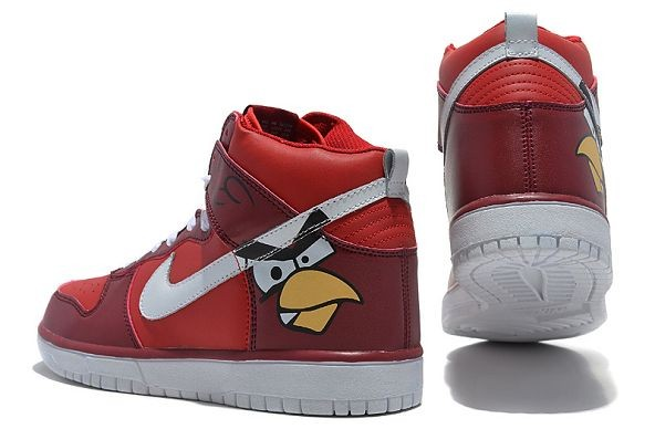 "Mens Nike Dunk SB High Shoes ""Angry Birds"" Red White"