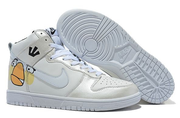 "Mens Nike Dunk SB High Shoes ""Angry Birds"" White Silver"