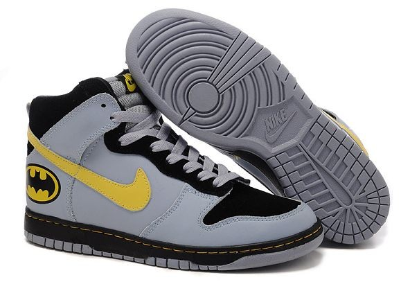 "Mens Nike Dunk SB High Shoes ""Batman"" Black Grey Yellow"
