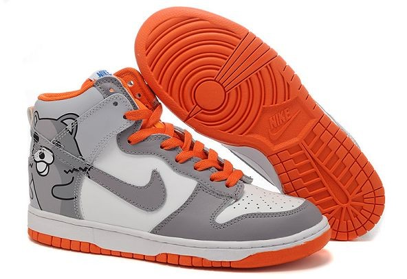 "Mens Nike Dunk SB High Shoes ""Bear"" White Grey Orange"
