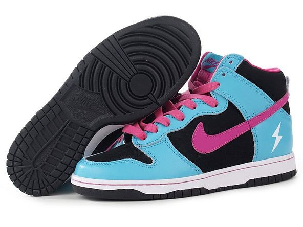 Mens Nike Dunk SB High Shoes Black Blue Pink