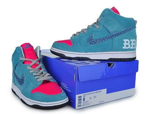 Mens Nike Dunk SB High Shoes Blue Inlay Red