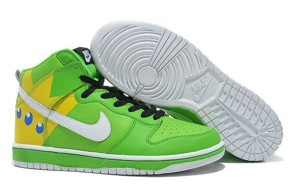 Mens Nike Dunk SB High Shoes Green Yellow