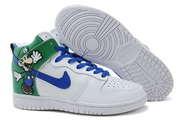 Mens Nike Dunk SB High Shoes Luigi Paper Mario White Green