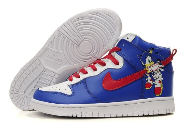 Mens Nike Dunk SB High Shoes Sonic White Blue Red