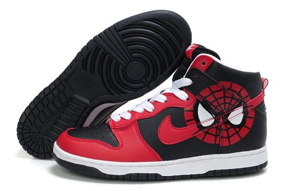 "Mens Nike Dunk SB High Shoes ""Spiderman"" Red Black White"