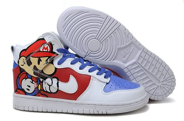 Mens Nike Dunk SB High Shoes Super Mario White Blue Red