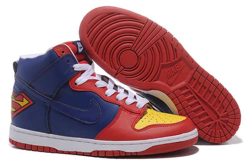 "Mens Nike Dunk SB High Shoes ""Superman"" Red Blue Yellow"