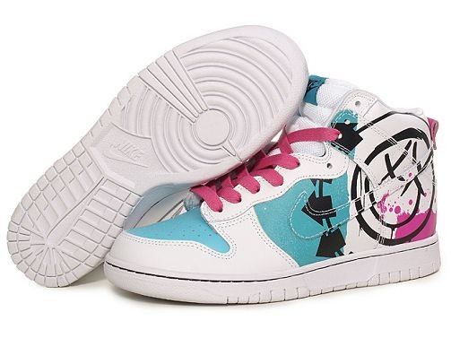 Mens Nike Dunk SB High Shoes White Blue Pink