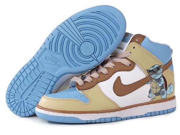 Mens Nike Dunk SB High Shoes White Brown Blue