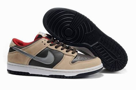 Mens Nike Dunk SB Low Shoes Dark Chocolate Metallic Silver Red