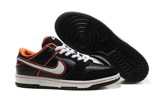 Mens Nike Dunk SB Low Shoes Pro Black White Orange Blaze