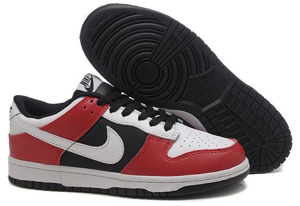 Mens Nike Dunk SB Low Shoes White Black Red