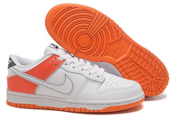 Mens Nike Dunk SB Low Shoes White Orange