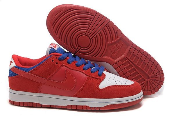 Mens Nike Dunk SB Low Shoes White Red Blue