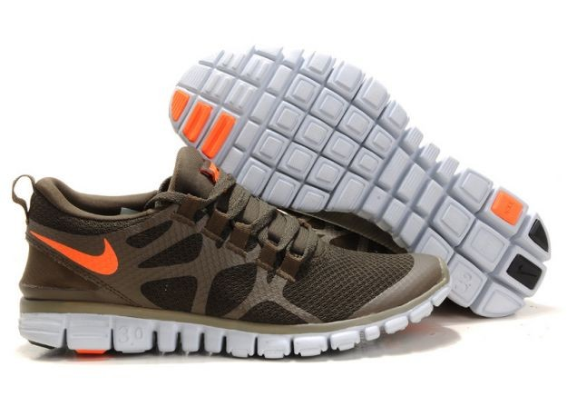 Mens Nike Free 3.0 V3 Khaki Brown/Total Orange Running Shoes
