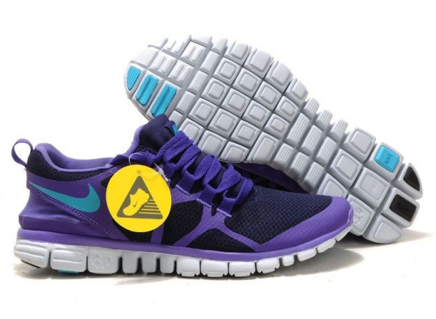 Mens Nike Free 3.0 V3 Obsidian/Pure Purple-Turquoise Blue Running Shoes