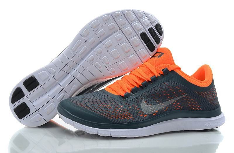 Mens Nike Free 3.0 V5 Dark Blue White Total Orange White Running Shoes