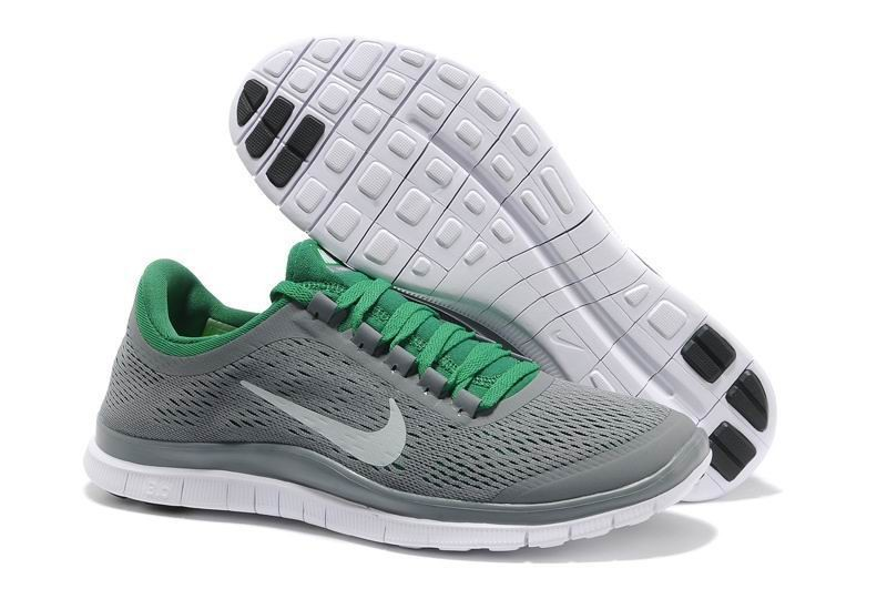 Mens Nike Free 3.0 V5 Grey Green Running Shoes