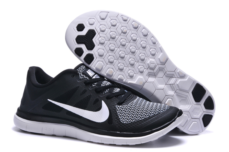 Mens Nike Free 4.0 V4 Black White Running Shoes