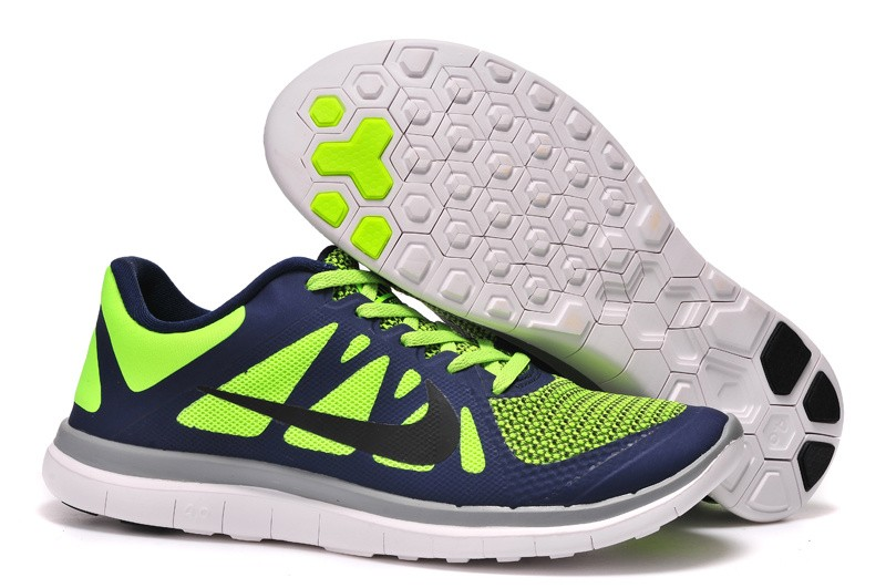 Mens Nike Free 4.0 V4 Blue Fluorescence Green Running Shoes
