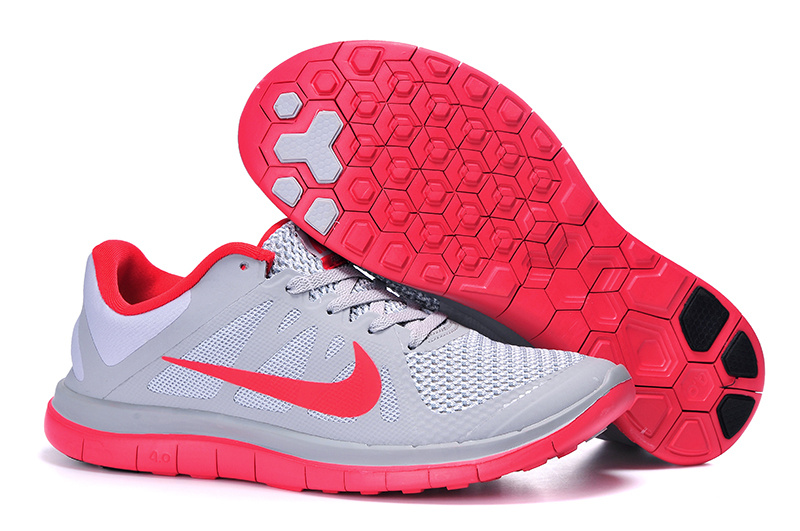 Mens Nike Free 4.0 V4 Grey Red Running Shoes