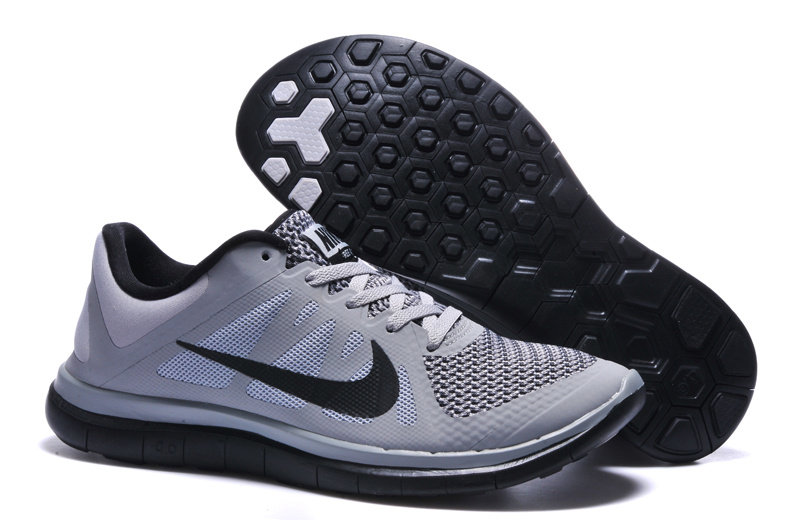 Mens Nike Free 4.0 V4 Light Grey White Black Running Shoes