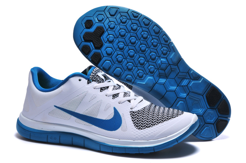 Mens Nike Free 4.0 V4 White Blue Running Shoes