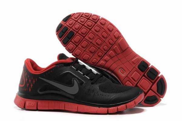 Mens Nike Free 5.0 V3 Black Red Running Shoes