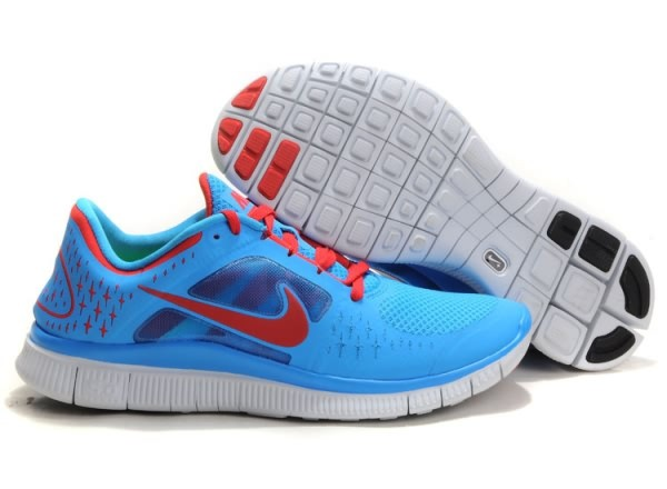 Mens Nike Free 5.0 V3 Blue Red Running Shoes