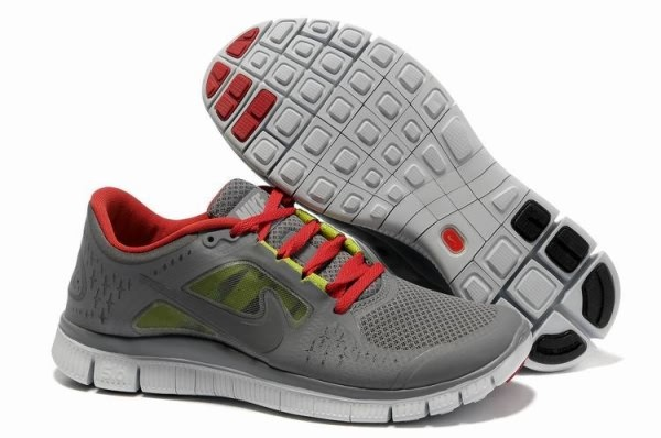 Mens Nike Free 5.0 V3 Carbon Grey Red Running Shoes