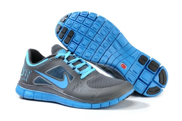 Mens Nike Free 5.0 V3 Carbon Grey Sky Blue Running Shoes