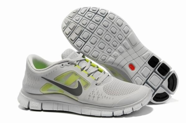 Mens Nike Free 5.0 V3 Light Grey Silver Running Shoes