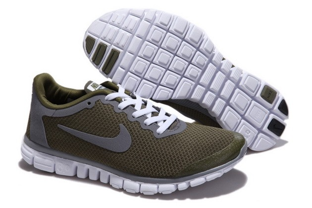 Mens Nike Free Run 3.0 V2 Army Green Running Shoes