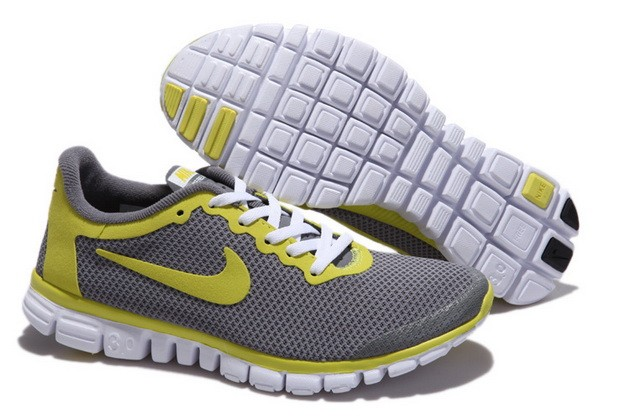 Mens Nike Free Run 3.0 V2 Grey Yellow Running Shoes