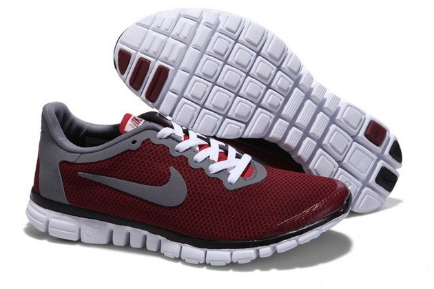 Mens Nike Free Run 3.0 V2 Wine Red Running Shoes