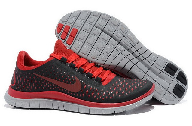 Mens Nike Free Run 3.0 V4 Black Red Reflect Silver Running Shoes